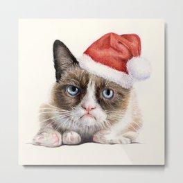 Grumpy Santa Cat Metal Print
