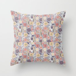 Abstract underwater plants. Seastar corals sponges reef. Blue yellow pink ocean themed print. Distressed look. Throw Pillow