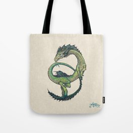 Rain Dragon by Amber Marine ~ Watercolor & Ink dragon/serpent art, (Copyright 2017) Tote Bag