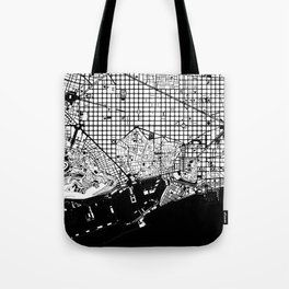 Barcelona city map black and white Tote Bag