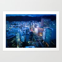 kobe Art Prints featuring City Lights in Kobe pt1 by Tomoyuki Murakami