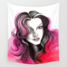 Pink and Red Flame Hair Wall Tapestry