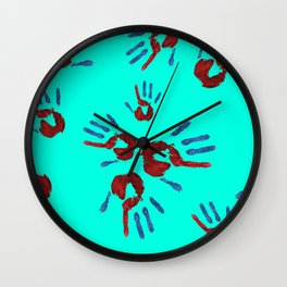 Red palm with blue fingers on neon blue Wall Clock