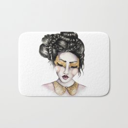 Golden Eyes // Fashion Illustration Bath Mat