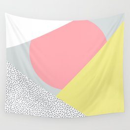 80's Retro Pattern in Yellow and Pink Wall Tapestry