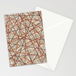 Industrial Urban Metallic Brown & Rustic Mahogany Line Pattern Stationery Cards