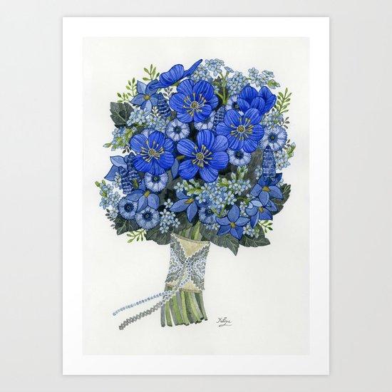Blue Bouquet Art Print