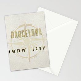 Barcelona - Vintage Map and Location Stationery Cards