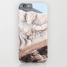 European City Ruins | Ephesus Carved Statue Rock Muted Baby Blue Tan Colors Historical Wanderlust iPhone Case