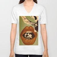 ladybug V-neck T-shirts featuring Ladybug by Laura Hohmann & Jo Peace
