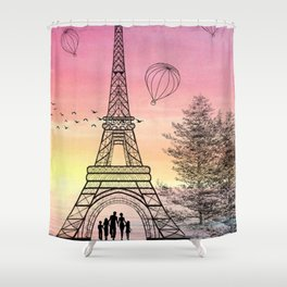 Colorful Eiffle Tower Background Shower Curtain