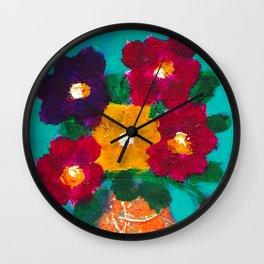 Painted Flowers Still Life Wall Clock