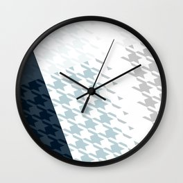 Modern Houndstooth Reinterpreted A – Navy / Gray / White Checked Pattern Wall Clock