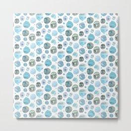 Blue Watercolor Polka Dots Metal Print