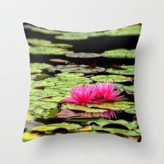 Lilies on Lake hope Throw Pillow