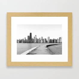 Black & White Chicago Photograph Framed Art Print