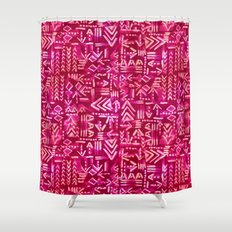 Tapa Tribal Red Shower Curtain