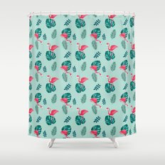 pink flamingo bird on blue and green tropical pattern Shower Curtain
