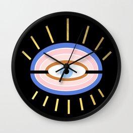 Retro evil eye - black & gold Wall Clock