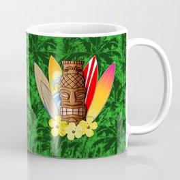 Surfboards And Tiki Mask Palm Trees Coffee Mug
