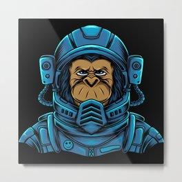 Monkey in Astronaut suit Cosmonauts Gifts Metal Print