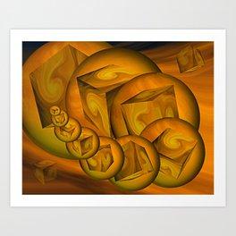 Cube Worm Art Print