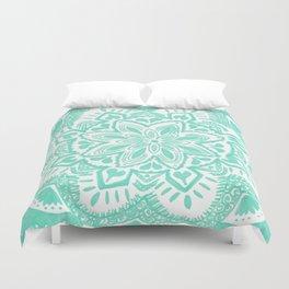 turquoise floral mandala Duvet Cover