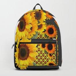 GOLD SUNFLOWERS & MONARCH BUTTERFLIES ART DECO Backpack