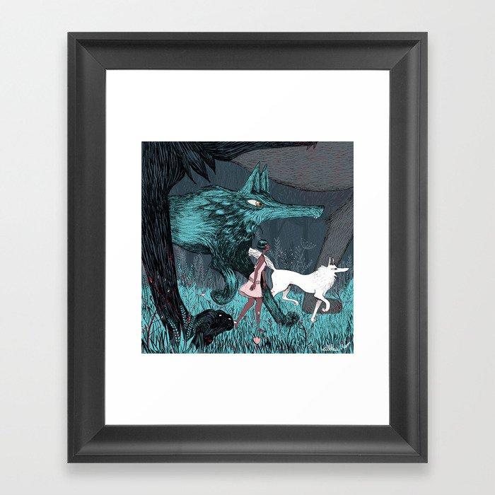 Woman Wolf wandering Framed Art Print