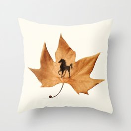 Horse on a dried leaf Throw Pillow