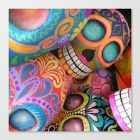 sugar skulls Canvas Prints featuring sugar skulls by wet yeti