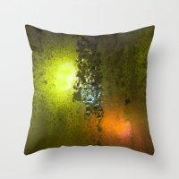 saga Throw Pillows featuring Condensation 08 - Saga | Citrus by PRE Media