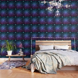 Galaxy Stars : Teal Violet Pink Ombre Wallpaper