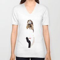 audrey V-neck T-shirts featuring Audrey by Bethany Mallick