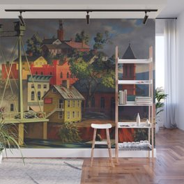 New England Town on the Two Rivers with Bridge landscape painting by Peter Blume Wall Mural