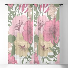 Trendy Seamless Floral Style Sheer Curtain