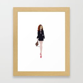 Red Haired Woman in Black Overall and Brown Bags Framed Art Print