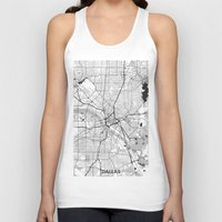 dallas Tank Tops featuring Dallas Map Gray by City Art Posters