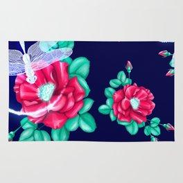 Full bloom   Dragonfly loves roses Rug