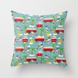 Schnauzer mini van hippie van palm tree tropical summer dog breed pattern Throw Pillow