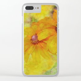 Soft Yellow Flowers Clear iPhone Case