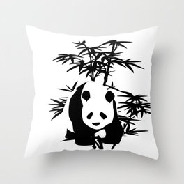 Giant Panda Bear and Bamboo Tree Throw Pillow