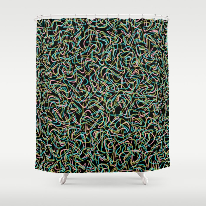 Boomerang Neon Shower Curtain By Pixel404