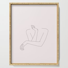 Woman's crossed arms line drawing - Anna Natural Serving Tray