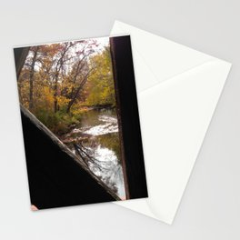 A river under a covered bridge Stationery Cards