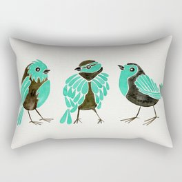 Turquoise Finches Rectangular Pillow