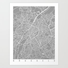 Brussels map grey Art Print