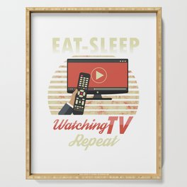 Eat Sleep Watching TV Repeat Couch Potato Slouch Lousy Lazy Gift Serving Tray