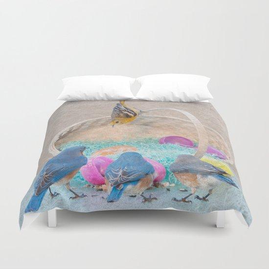 Colorful Birds & eggs Duvet Cover