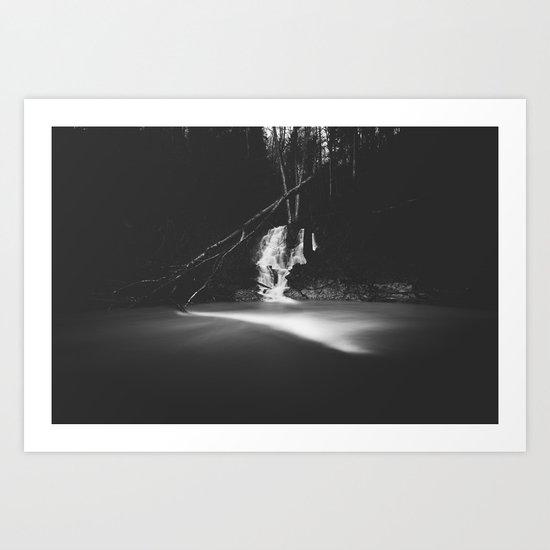 Minimalistic black and white waterfall Art Print